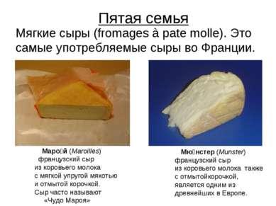 Пятая семья Мягкие сыры (fromages à pate molle). Это самые употребляемые сыры...