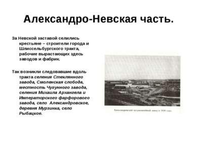 Александро-Невская часть. За Невской заставой селились крестьяне – строители ...
