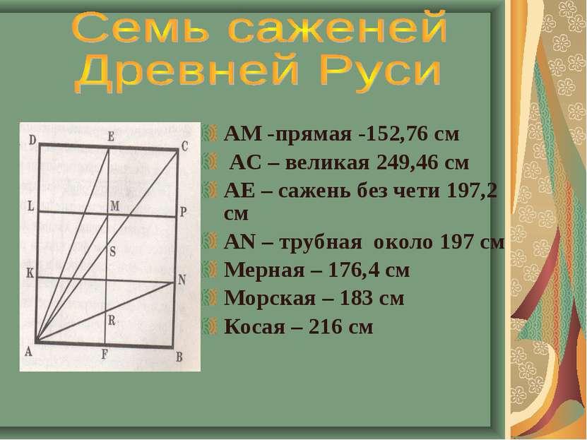 АМ -прямая -152,76 см АС – великая 249,46 см АЕ – сажень без чети 197,2 см АN...