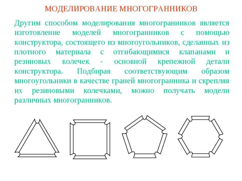 МОДЕЛИРОВАНИЕ МНОГОГРАННИКОВ Другим способом моделирования многогранников явл...