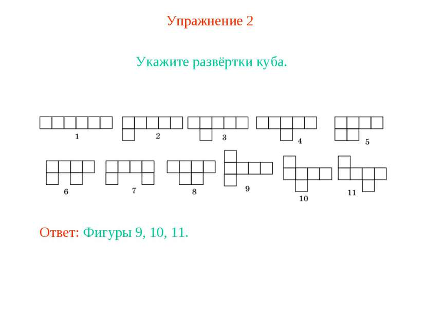 Упражнение 2 Укажите развёртки куба. Ответ: Фигуры 9, 10, 11.