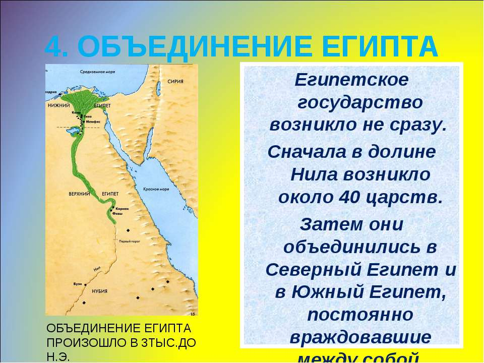 4. ОБЪЕДИНЕНИЕ ЕГИПТА Египетское государство возникло не сразу. Сначала в дол...