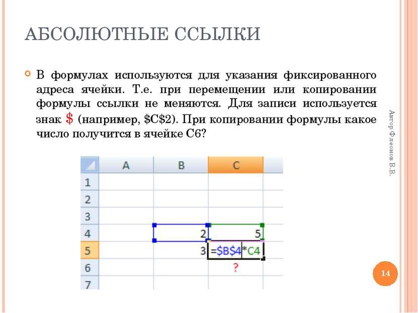 * Автор Флеонов В.В. АБСОЛЮТНЫЕ ССЫЛКИ В формулах используются для указания ф...