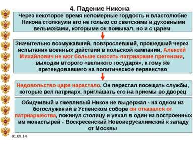 * 4. Падение Никона Через некоторое время непомерные гордость и властолюбие Н...