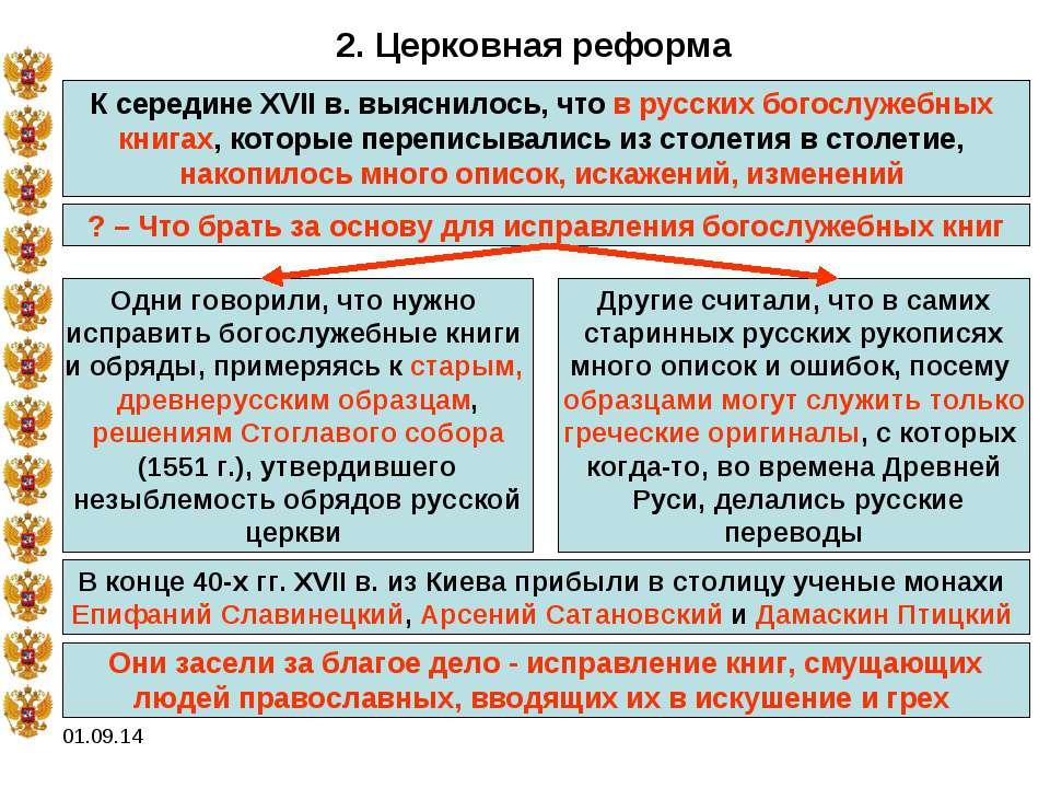 * 2. Церковная реформа К середине XVII в. выяснилось, что в русских богослуже...