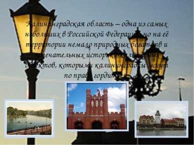 Калининградская область – одна из самых небольших в Российской Федерации, но ...