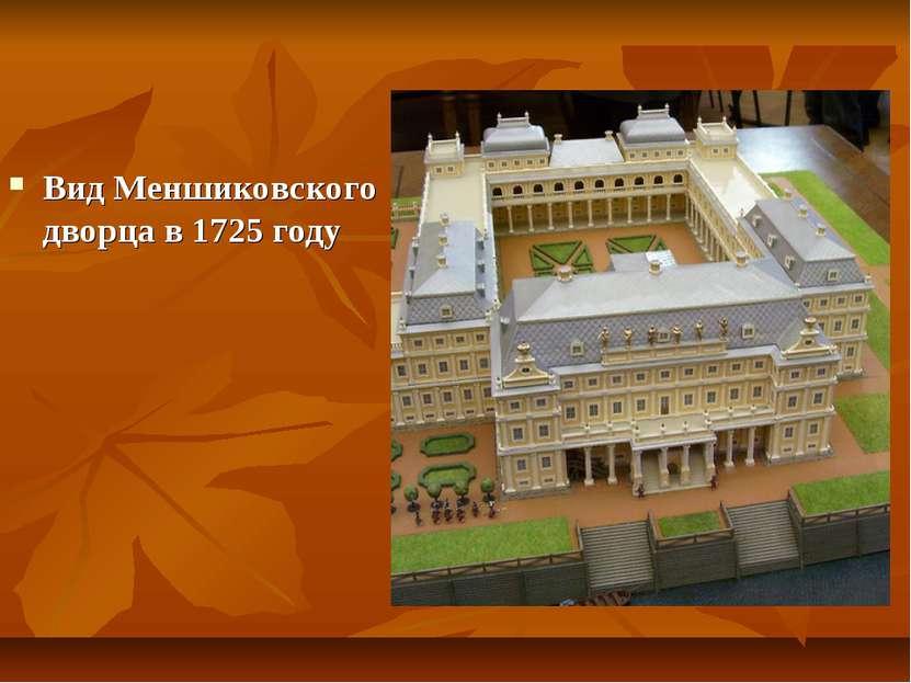 Вид Меншиковского дворца в 1725 году