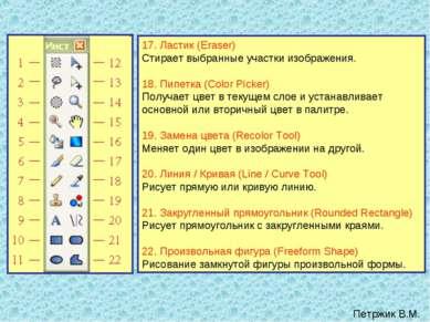17. Ластик (Eraser) Стирает выбранные участки изображения. 18. Пипетка (Color...