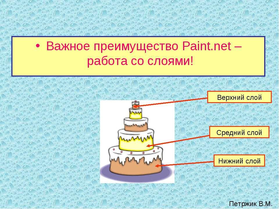 Важное преимущество Paint.net – работа со слоями! Нижний слой Верхний слой Ср...