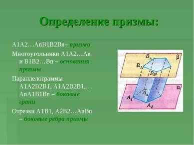 Определение призмы: А1А2…АnВ1В2Вn– призма Многоугольники А1А2…Аn и В1В2…Вn – ...