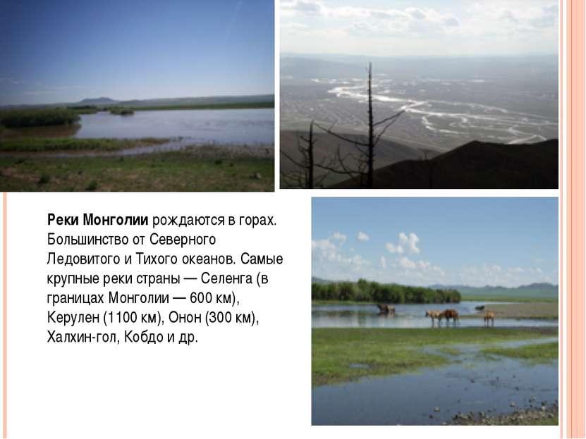 Реки Монголии рождаются в горах. Большинство от Северного Ледовитого и Тихого...