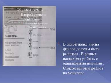 В одной папке имена файлов должны быть разными . В разных папках могут быть с...