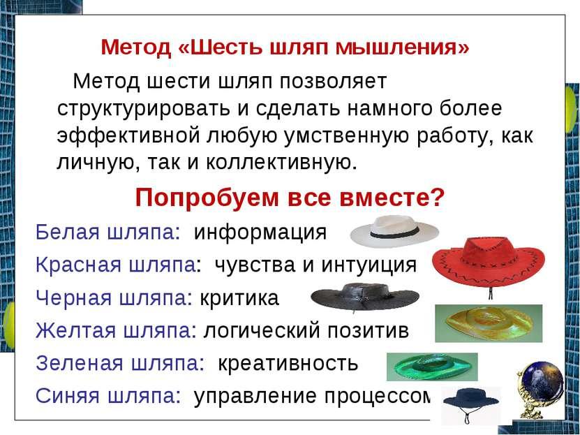 Метод «Шесть шляп мышления» Метод шести шляп позволяет структурировать и сдел...