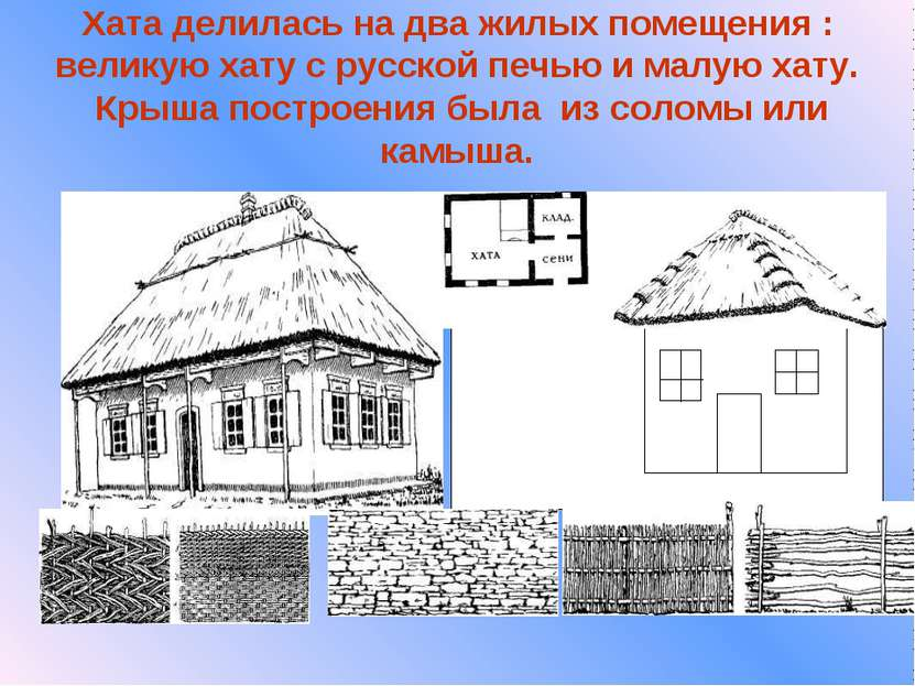 Хата делилась на два жилых помещения : великую хату с русской печью и малую х...
