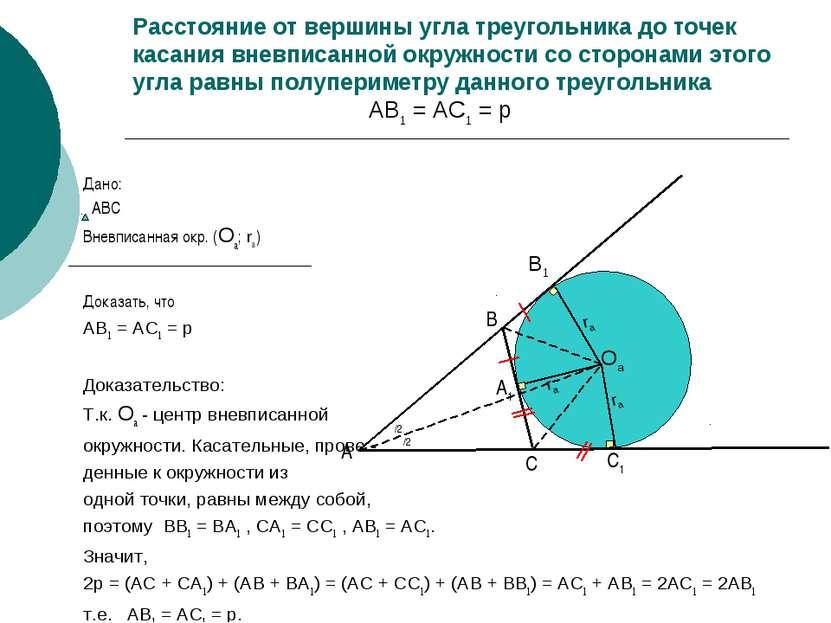 Расстояние от вершины угла треугольника до точек касания вневписанной окружно...