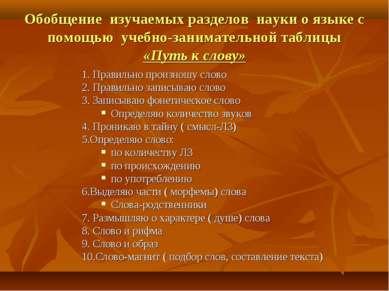 Обобщение изучаемых разделов науки о языке с помощью учебно-занимательной таб...