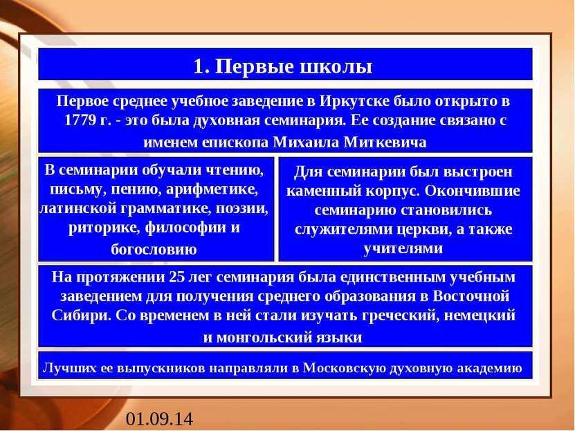 1. Первые школы Первое среднее учебное заведение в Иркутске было открыто в 17...