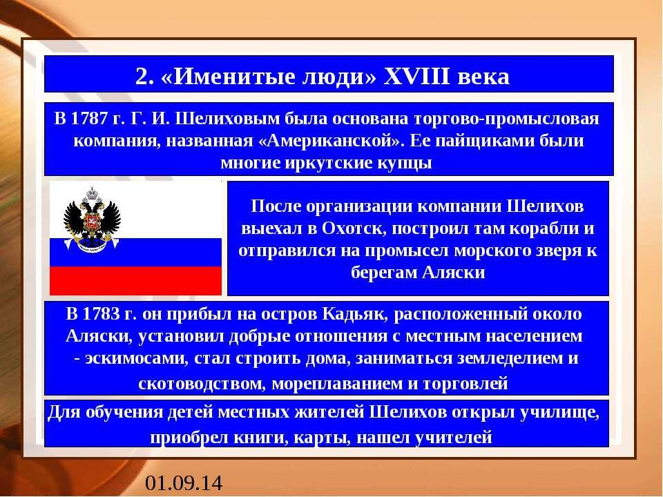 2. «Именитые люди» XVIII века В 1787 г. Г. И. Шелиховым была основана торгово...