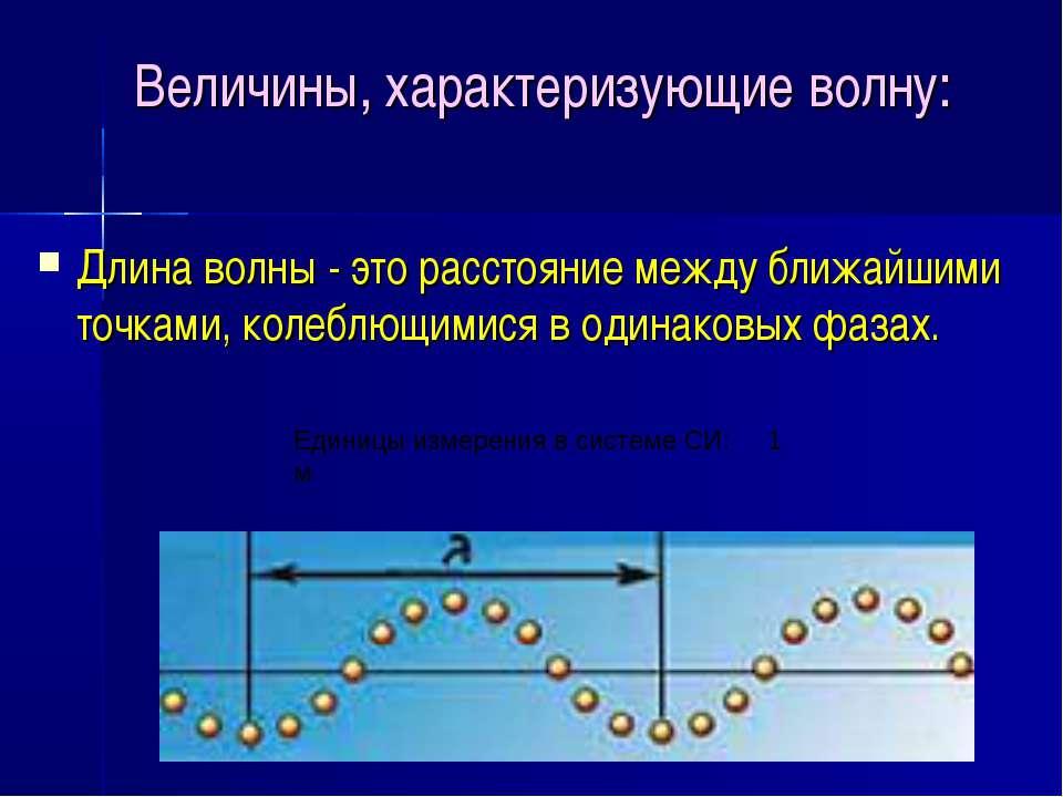 Величины, характеризующие волну: Длина волны - это расстояние между ближайшим...