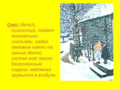 Снег: белый, пушистый, падает мохнатыми хлопьями, надел меховые шапки на крыш...