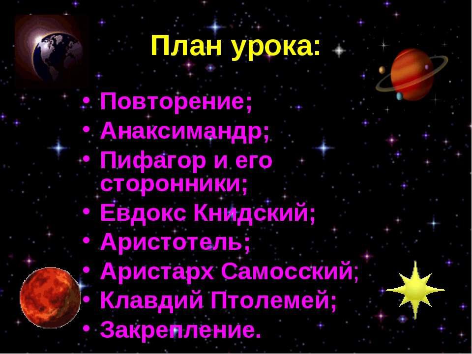План урока: Повторение; Анаксимандр; Пифагор и его сторонники; Евдокс Книдски...