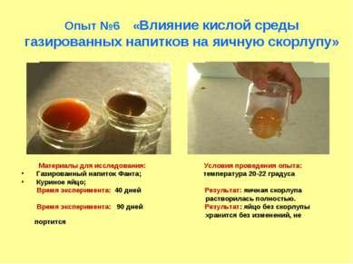 Опыт №6 «Влияние кислой среды газированных напитков на яичную скорлупу» Матер...