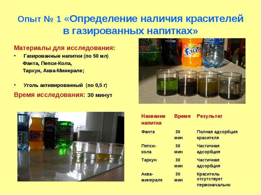 Опыт № 1 «Определение наличия красителей в газированных напитках» Материалы д...