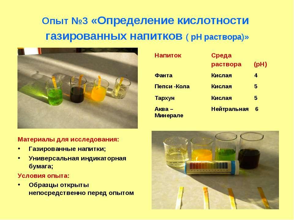 Опыт №3 «Определение кислотности газированных напитков ( рН раствора)» Матери...