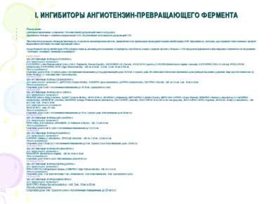 I. ИНГИБИТОРЫ АНГИОТЕНЗИН-ПРЕВРАЩАЮЩЕГО ФЕРМЕНТА Показания: длительное примен...