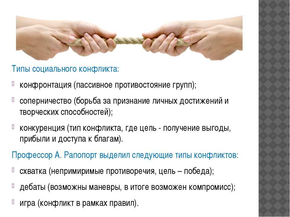 Типы социального конфликта: конфронтация (пассивное противостояние групп); со...