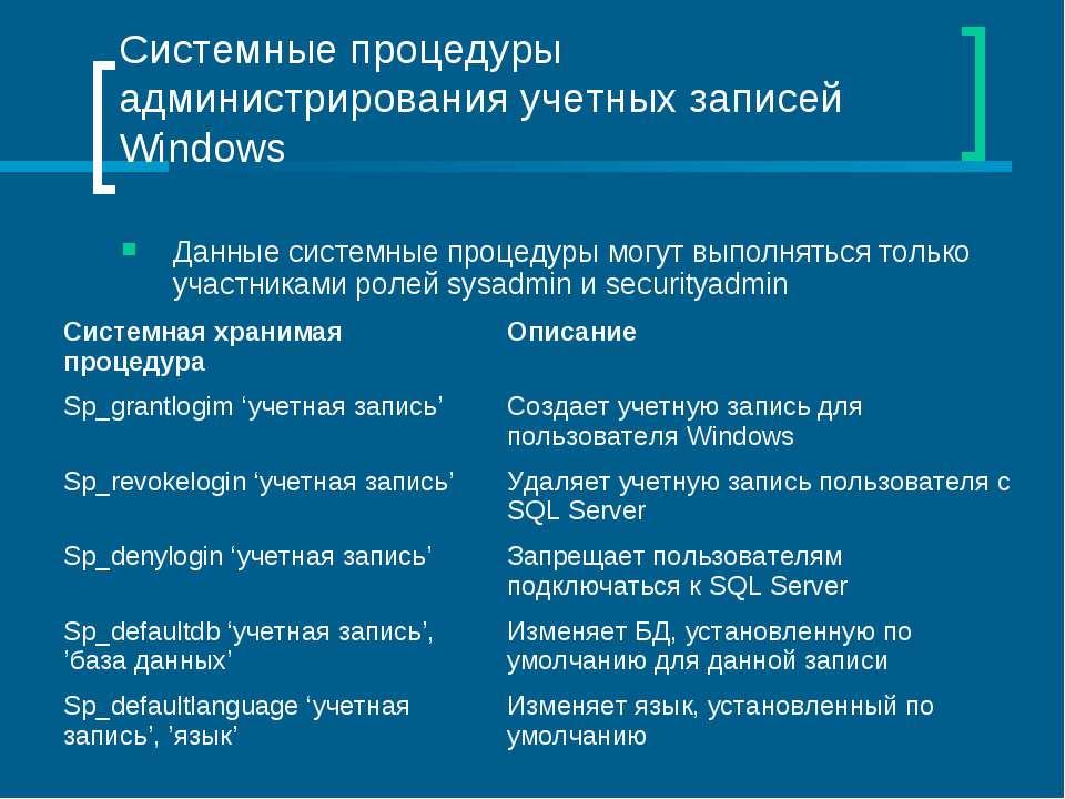 Системные процедуры администрирования учетных записей Windows Данные системны...