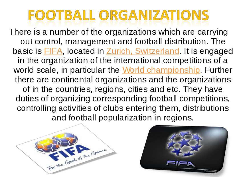 There is a number of the organizations which are carrying out control, manage...