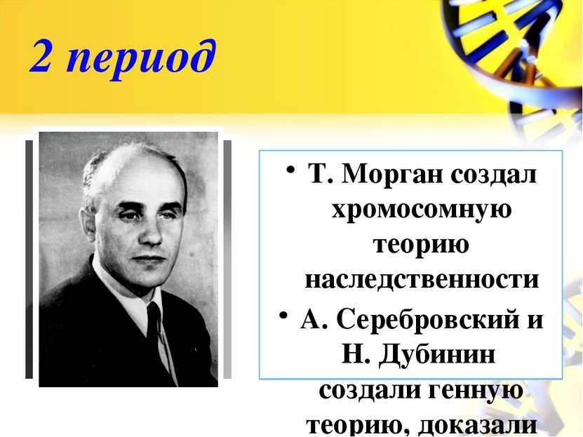 2 период Т. Морган создал хромосомную теорию наследственности А. Серебровский...