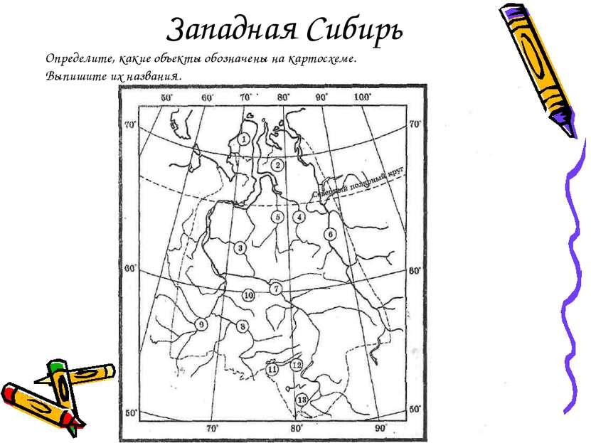 Западная Сибирь Определите, какие объекты обозначены на картосхеме. Выпишите ...