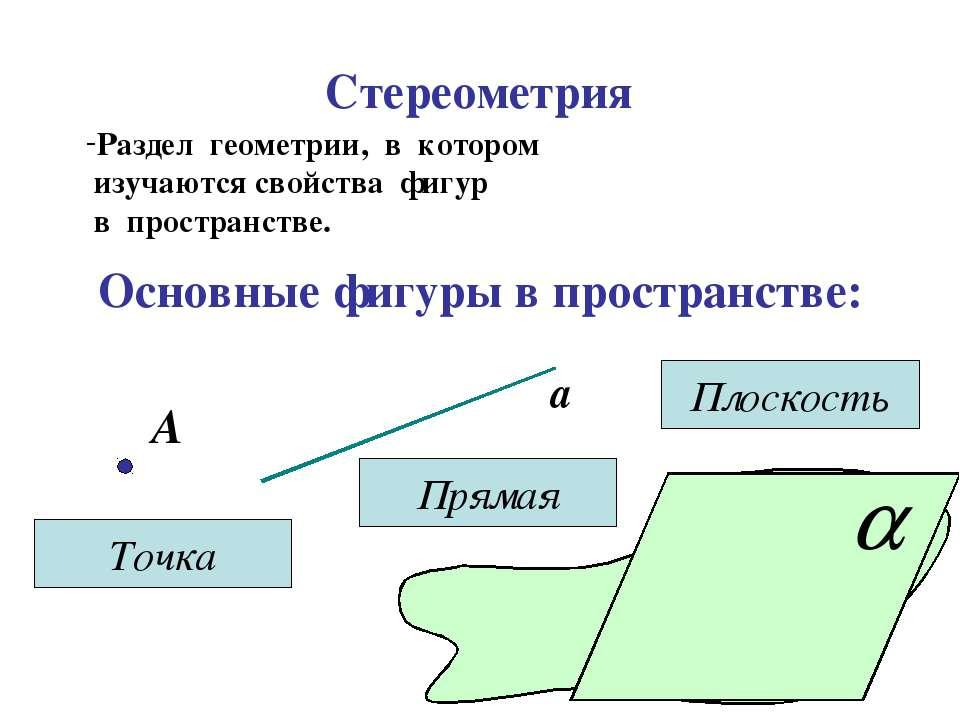 Стереометрия Раздел геометрии, в котором изучаются свойства фигур в пространс...