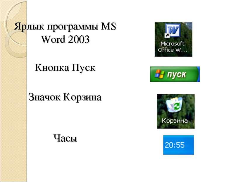 Ярлык программы MS Word 2003 Кнопка Пуск Значок Корзина Часы