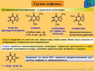 """Группа кофеина. 10 А.М. Чибиряев """"Биологически активные соединения живых орга..."""