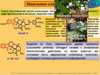 """Индольные алкалоиды. 12 А.М. Чибиряев """"Биологически активные соединения живых..."""