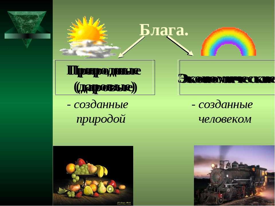 Блага. Природные (даровые) Экономические - созданные природой - созданные чел...