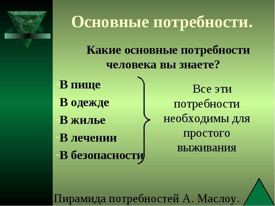 Основные потребности. Какие основные потребности человека вы знаете? В пище В...