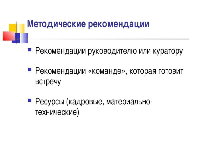 Методические рекомендации Рекомендации руководителю или куратору Рекомендации...