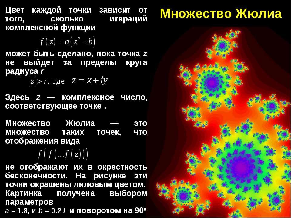 Множество Жюлиа Цвет каждой точки зависит от того, сколько итераций комплексн...