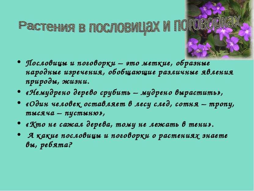 Пословицы и поговорки – это меткие, образные народные изречения, обобщающие р...