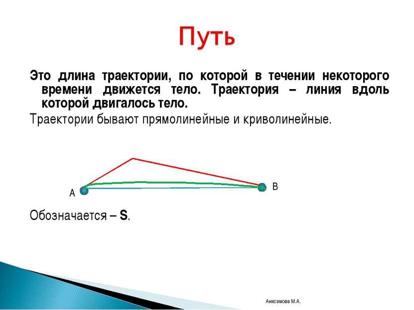 Это длина траектории, по которой в течении некоторого времени движется тело. ...