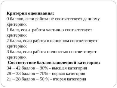 Критерии оценивания: 0 баллов, если работа не соответствует данному критерию;...