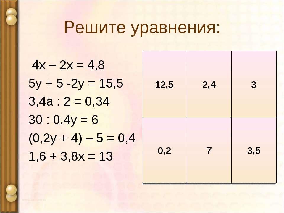 Решите уравнения: 4х – 2х = 4,8 5у + 5 -2у = 15,5 3,4а : 2 = 0,34 30 : 0,4у =...