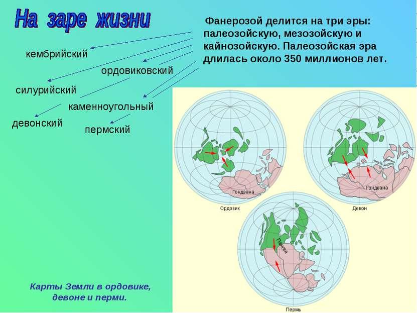 Фанерозой делится на три эры: палеозойскую, мезозойскую и кайнозойскую. Палео...