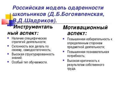 Российская модель одаренности школьников (Д.Б.Богоявленская, В.Д.Шадриков). И...