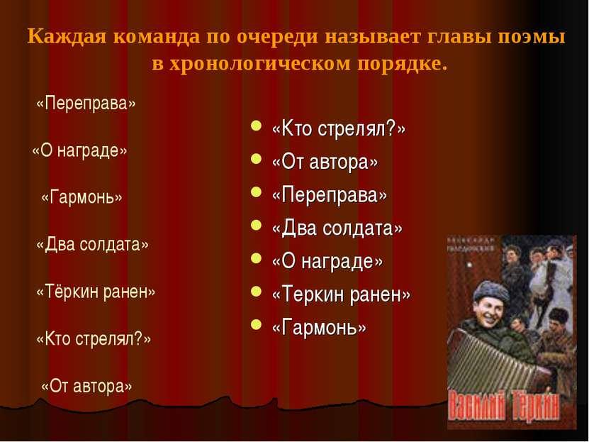 «Кто стрелял?» «От автора» «Переправа» «Два солдата» «О награде» «Теркин ране...