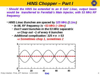 HINS Chopper – Part I Should the HINS be extended to an 8 GeV Linac, output b...